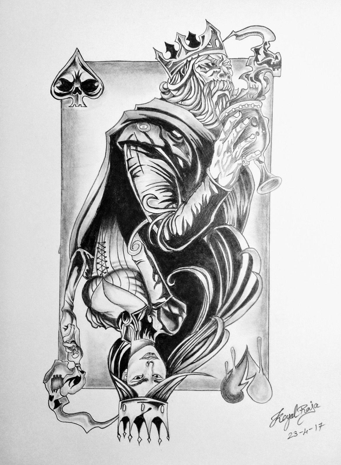 Cards king queen partner tattoos card tattoo poker