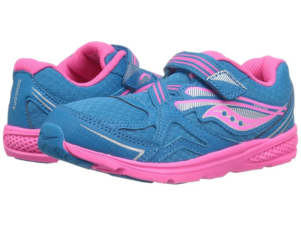 6ce385e395 Saucony Kids Baby Ride 9 (Toddler/Little Kid) Girls Shoes Blue/Pink ...
