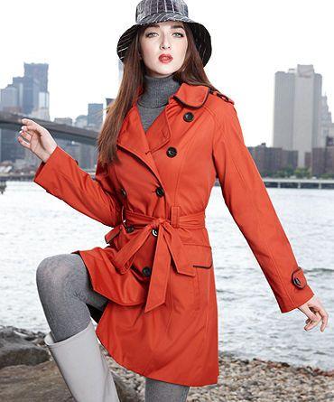 Jones New York Womens Hooded Trench Coat Rain Jacket Trenchcoats