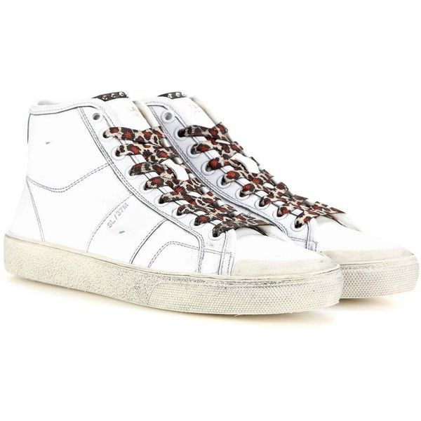 Saint Laurent Leather High-Top Sneakers (1,850 CNY) ❤ liked on Polyvore featuring shoes, sneakers, white, white leather trainers, leather high tops, leather shoes, white sneakers and white high top shoes