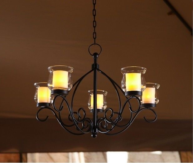 Rustic Votive Chandelier Hanging Candle Holder Patio Indoor Outdoor  Lighting NEW