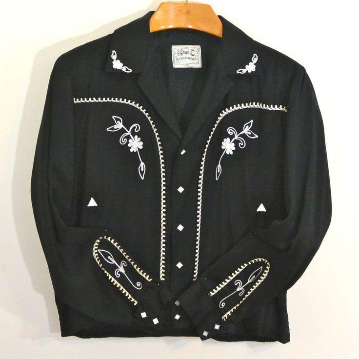a69f178da Vintage 1950s H BAR C HBarC Black Rayon Gabardine Western Rodeo ...