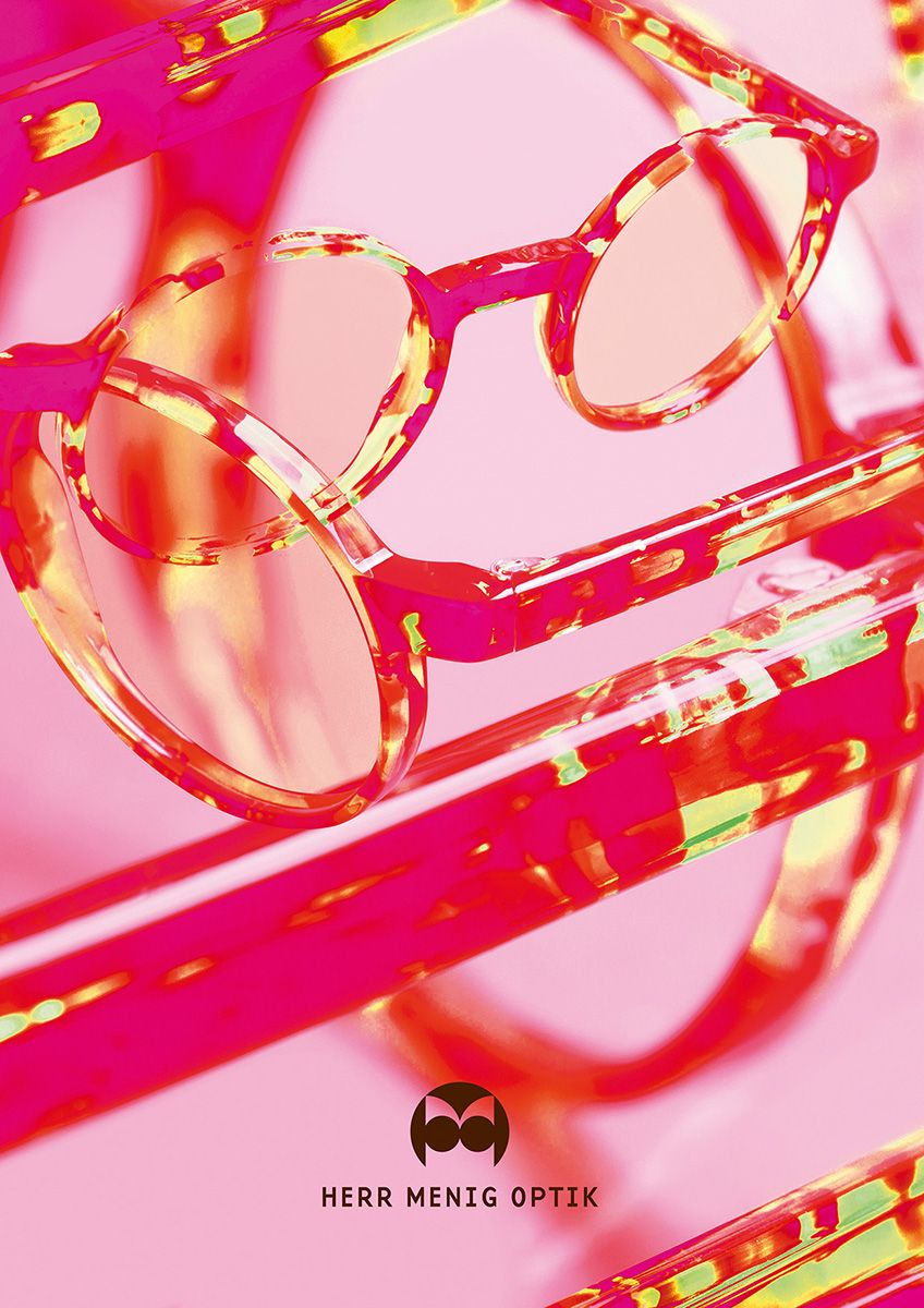 October 2015 ad for Nürnberg based optician Herr Menig Optik > www.philippzm.com #illustration #digitalcollage #glasses #pink