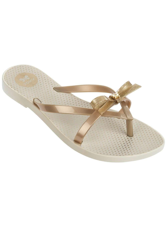89ef07d3a Womens   Zaxy Gold Bow Flip Flops- Gold