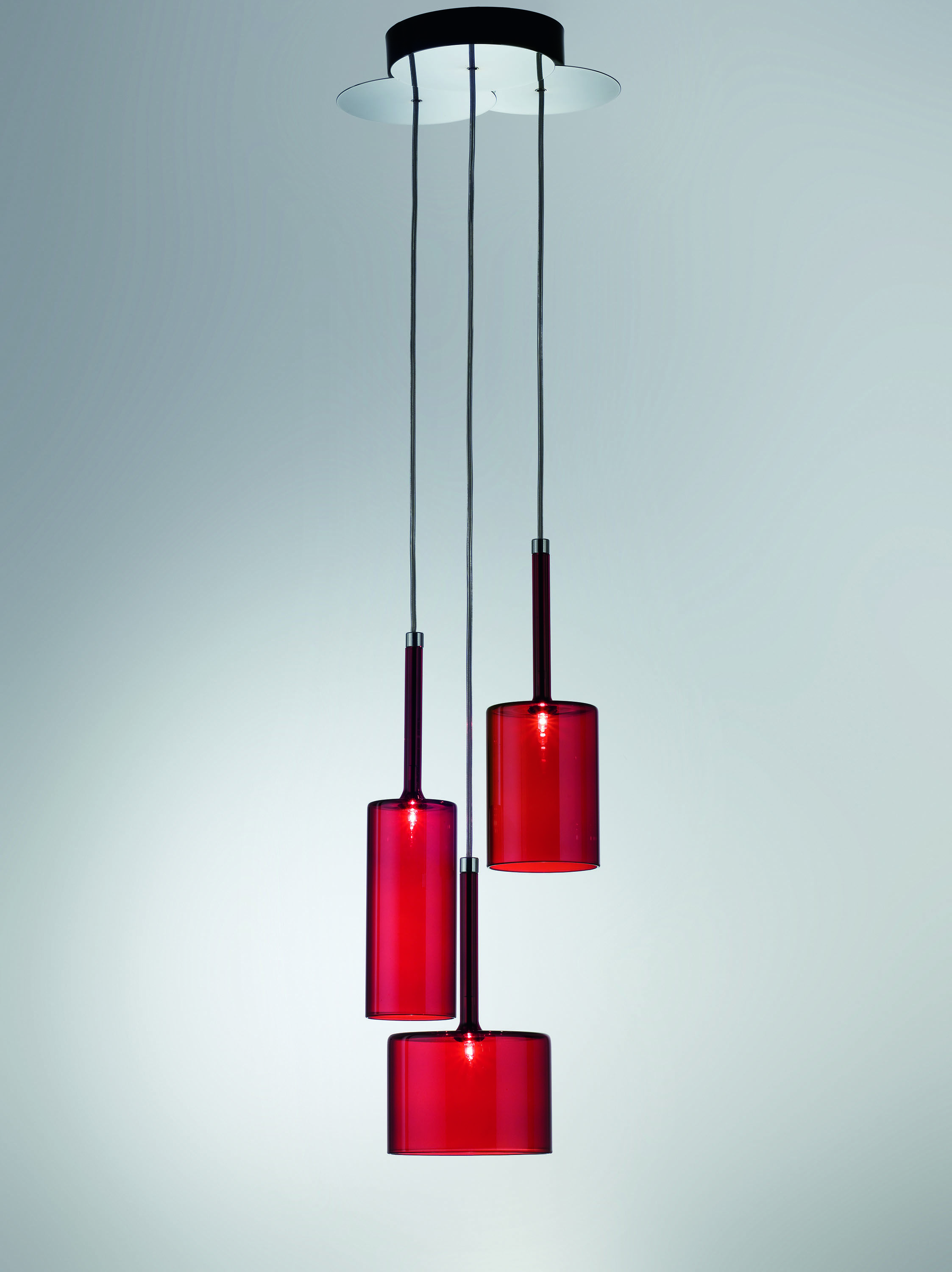 Pendant Lamp Available In Several Colours Crystal Red Grey And Bronze Halo Or Led Light Source The Diffusers Are Glass Pendant Lamp Lamp Red Pendant Light