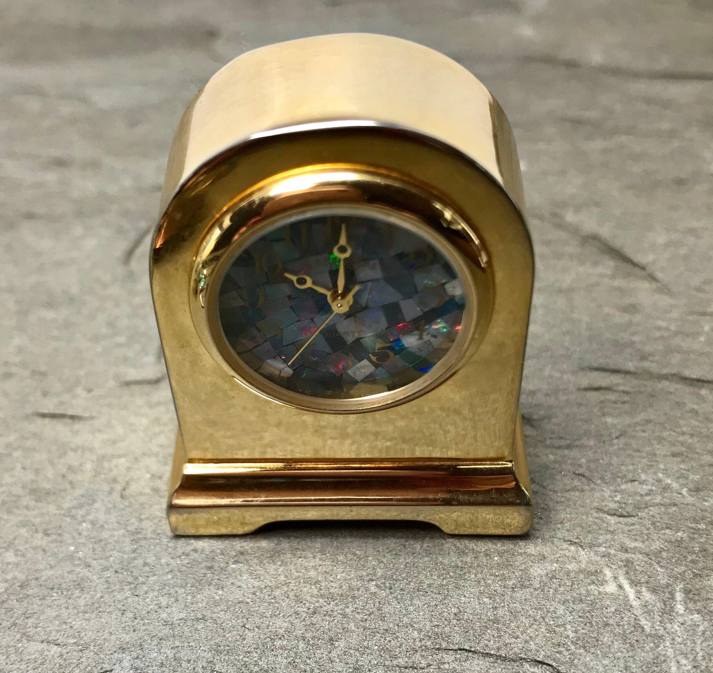 Miniature Desk Clock Opal Face Tiny Clock Small Collectible Etsy
