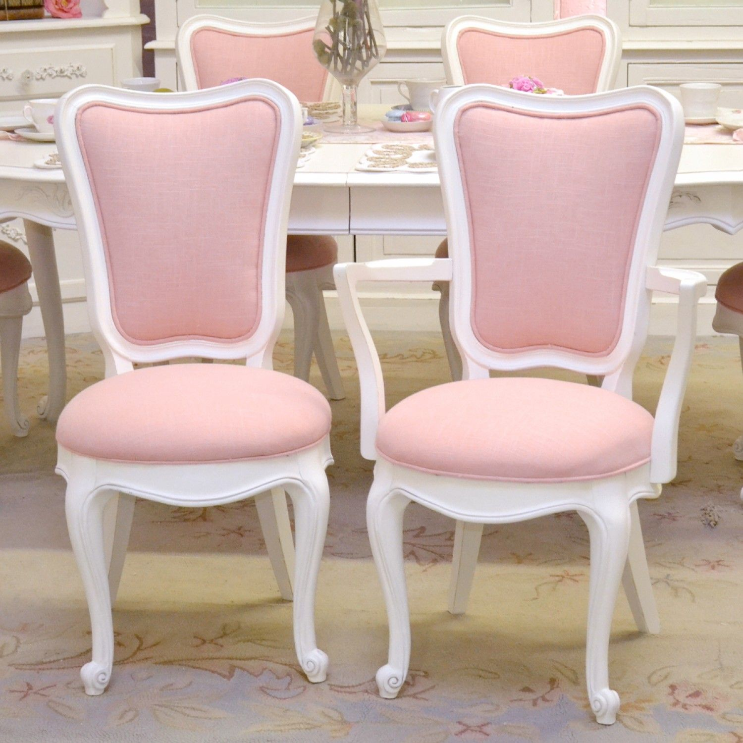 elegant tall back dining chairs in pink linen set of 6 thebellacottage shabbychic. Black Bedroom Furniture Sets. Home Design Ideas
