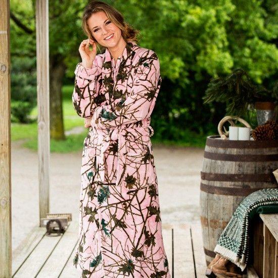 Ladies'+Pink+Camo+Robe