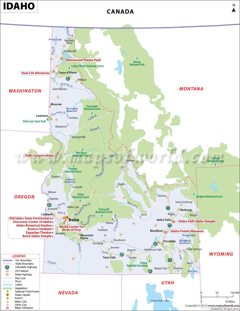 Idaho Map Showing The Major Travel Attractions Including Cities - Map of colorado ski resorts and cities