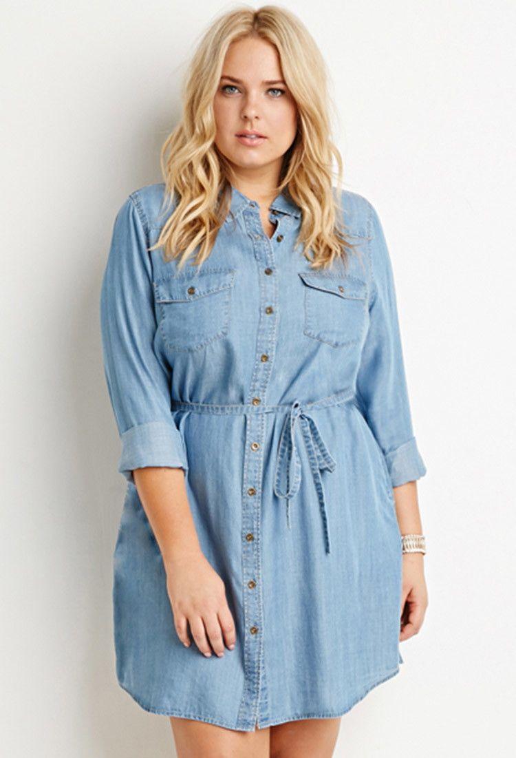 Belted Chambray Shirt Dress Forever 21 Plus 2000179045