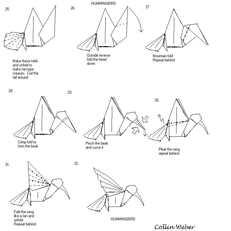origami hummingbird diagram instructions suzuki intruder 1500 wiring pin by engedi ming on pinterest http www ikuzoorigami com