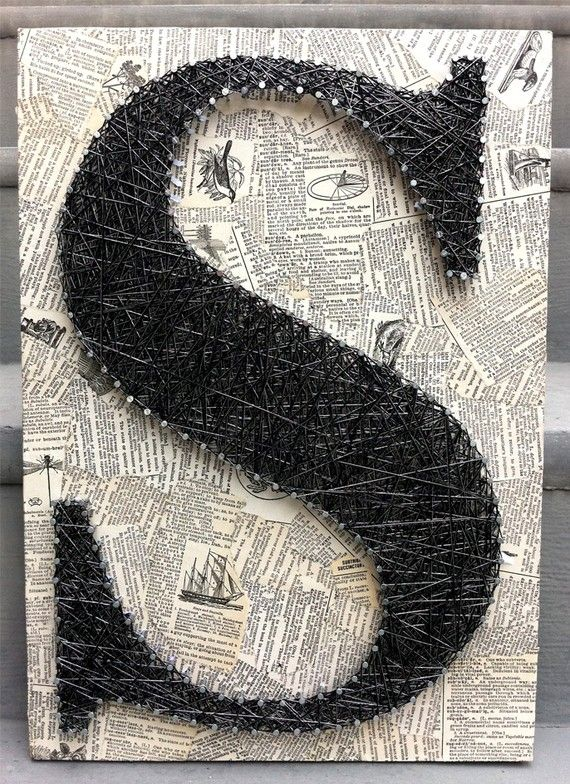 Mixed Media Nail And Thread Quot S Quot By Asulikeit Via Etsy