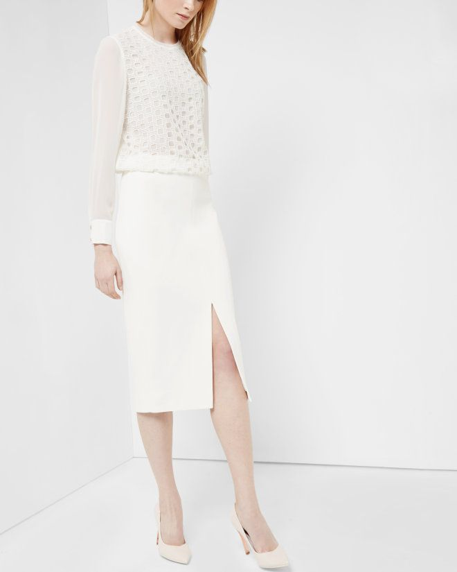 High waisted pencil skirt - Cream | Skirts | Ted Baker UK | REISS ...