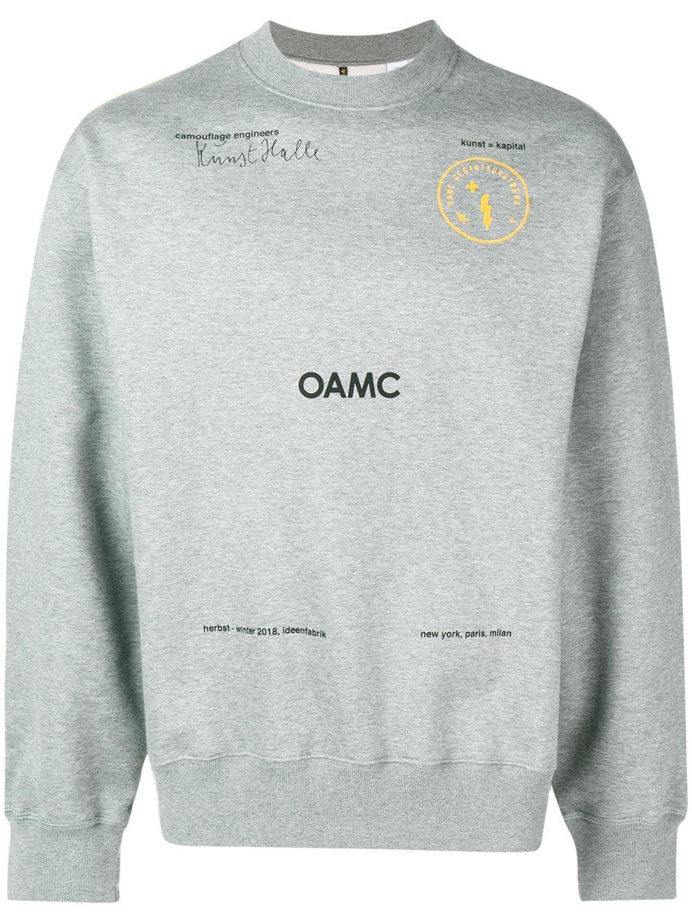 Oamc Slogan Crew Neck Sweatshirt In Grey Modesens Sweatshirts Crew Neck Sweatshirt Oamc [ 1334 x 1000 Pixel ]
