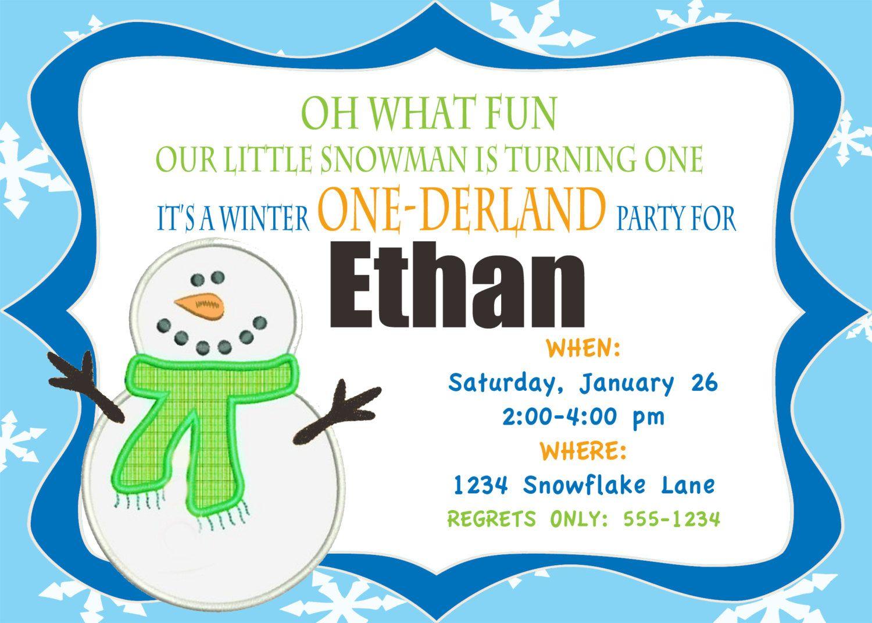 Onederland Birthday-Personalized Snowman Winter ONEderland Birthday ...