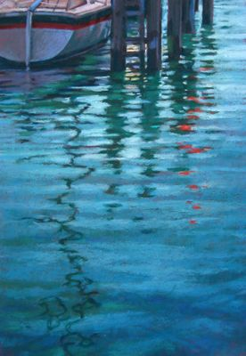 Pastel Painting Of The Reflections Of A Boat And Dock In Harbor