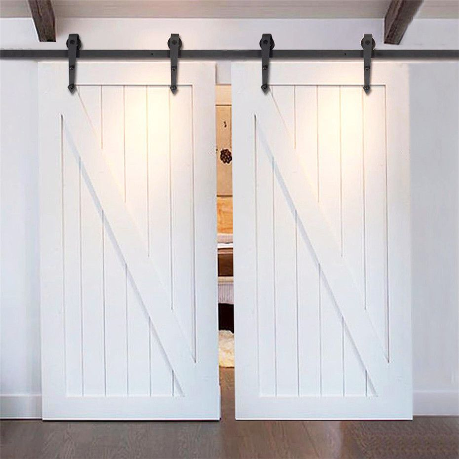 Amazon Com Easelife 12 Foot Double Sliding Barn Door Hardware Track Kit Heavy Duty Diy Easy Install Barn Door Closet Double Sliding Barn Doors Diy Barn Door