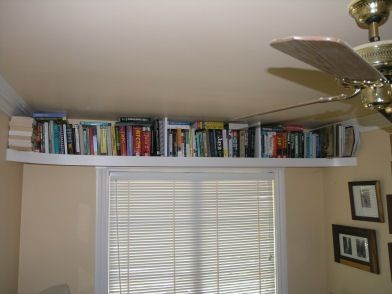 Ceiling Bookshelf Idea Could Put Across One Wall In Wood