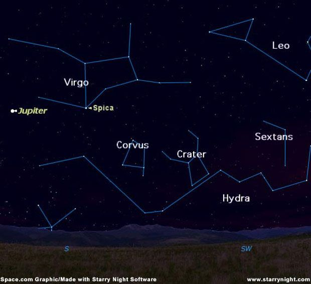 Star Map Software.Sky Map Showing The Locations Of The Constellations Hydra Corvus