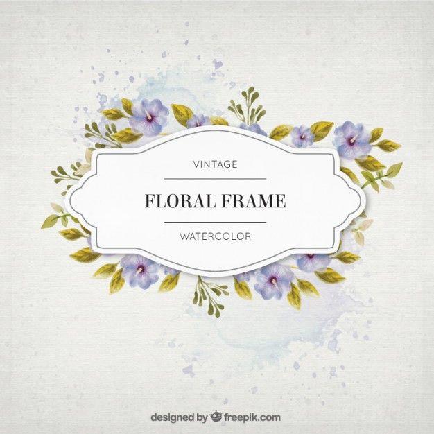 Flores Da Aguarela Do Vintage E Deixa O Frame Graphics Pinterest