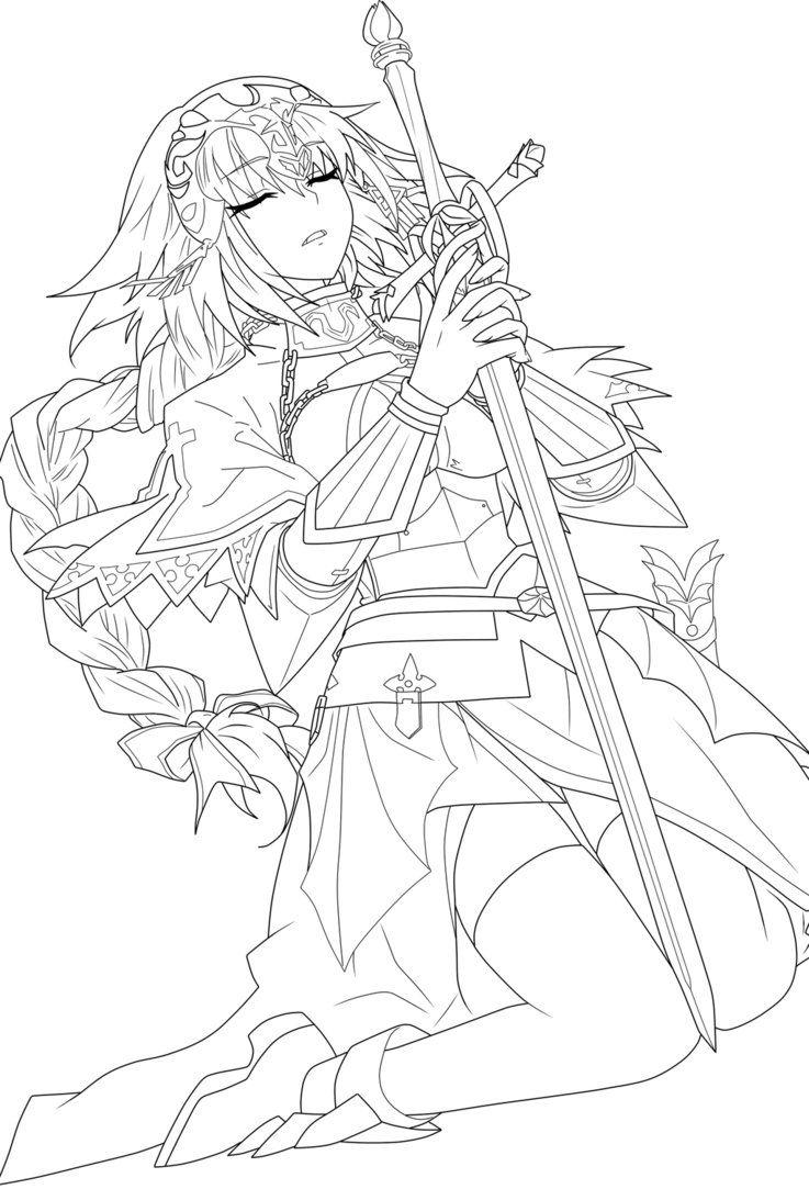Jeanne D'Ark (Aka. Ruler) Lineart by CerberusYuri on