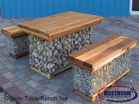 Gabion Table/Bench | Fencing | Pinterest | Gaviones, Piedra y Jardines