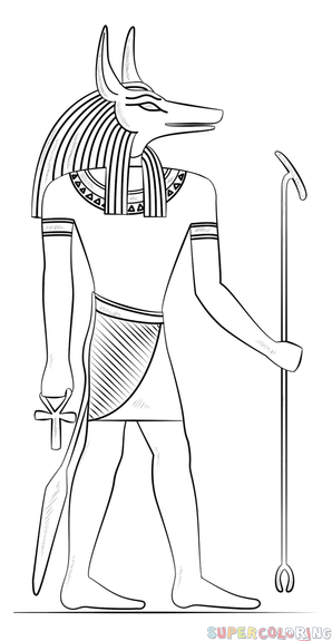 b81d539ce How to draw Anubis the Egyptian god step by step. Drawing tutorials for  kids and beginners.