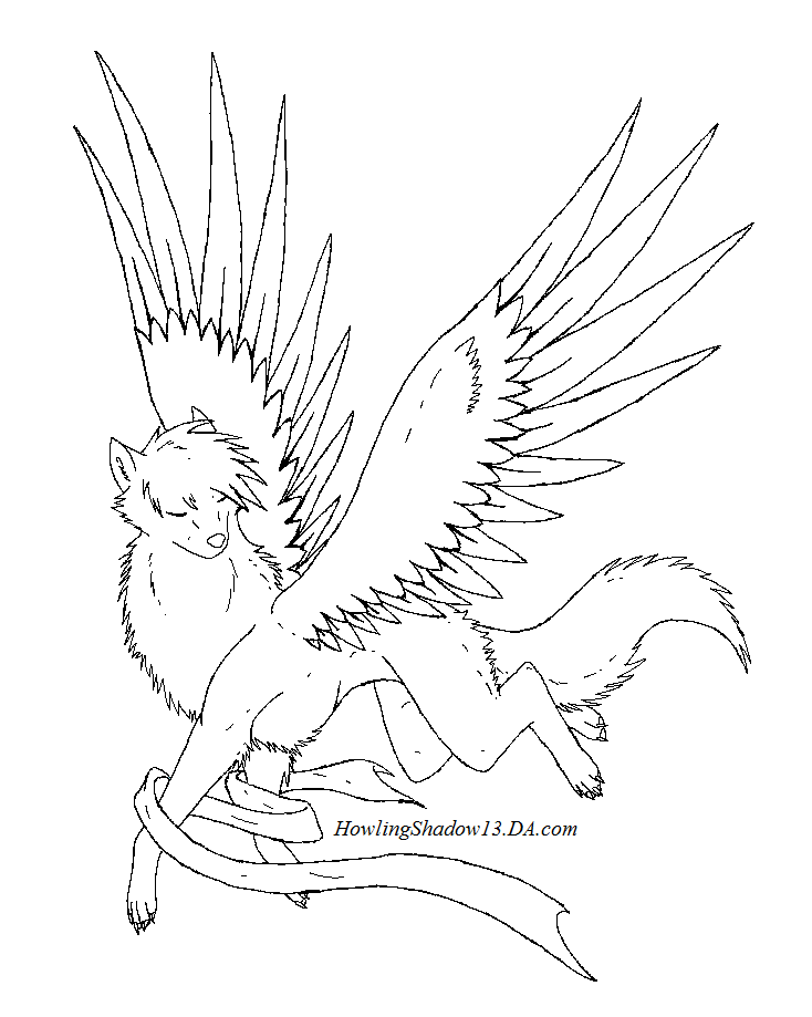 Winged Wolf Lineart By Howlingshadow13 On Deviantart Moon Coloring Pages Wolf Howling Wings