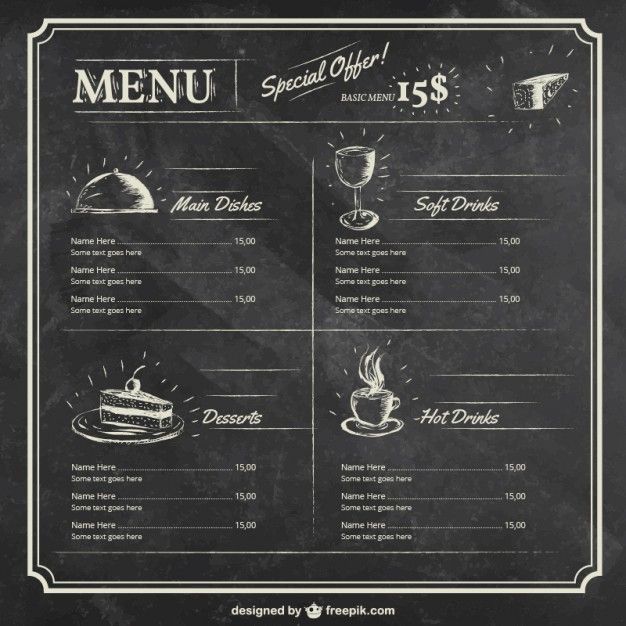 Plantilla del menú en la pizarra Vector Gratis | Menu Restaurant ...