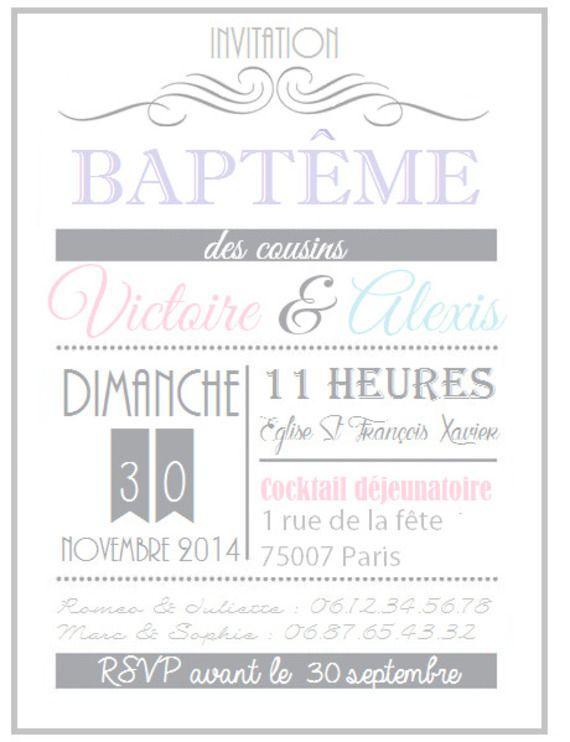 invitation bapteme anniversaire