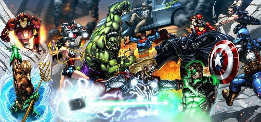 Justice League Vs Avengers Colored By Grandizer05 On Deviantart Avengers Vs Justice League Avengers Glossy Print