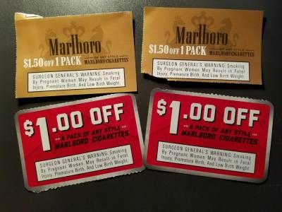 5 off marlboro cigarettes coupons exp 11/30 Free cigarettes