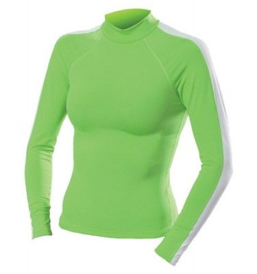 Dolfin Womens Solid Mock Neck Long Sleeve Rash Guard