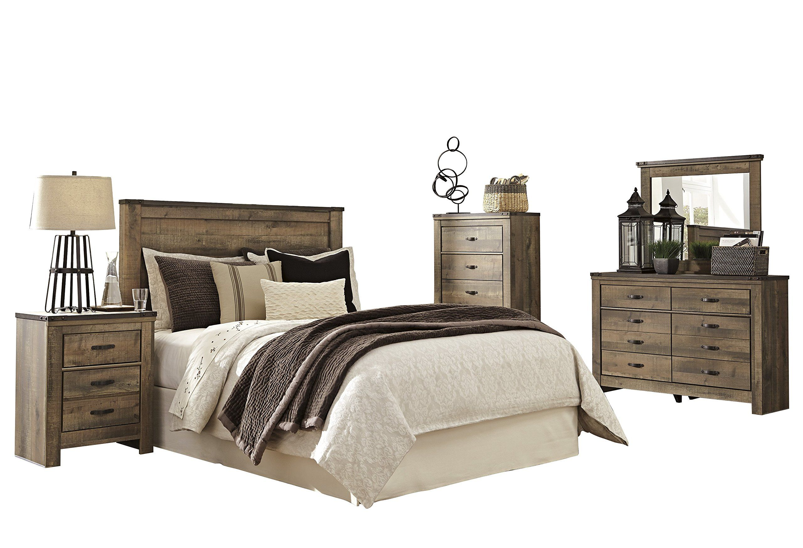 Ashley Trinell 5pc Bedroom Set Queen Panel Headboard One Nightstand Dresser Mirror Chest In Ashley Furniture Bedroom Bedroom Set Ashley Bedroom Furniture Sets