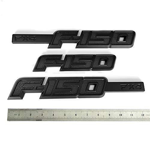 3pcs Black F150 FX4 Fender Emblems F150 Rear Tailgate Decal 3D Badge Nameplate Replacement for 2015 2016 2017 2018 2019 F-150