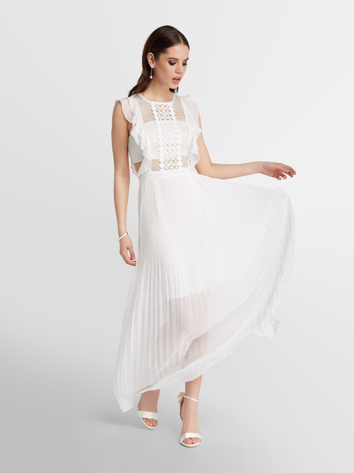 creme Apart Damen Chiffon-Abendkleid mit Perlen