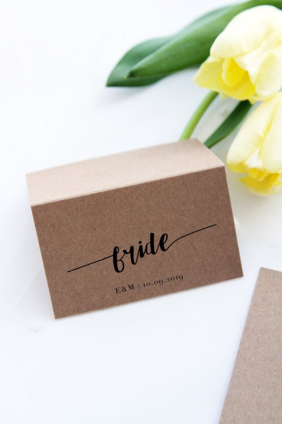 Rustic Modern Calligraphy Place Cards Place Cards