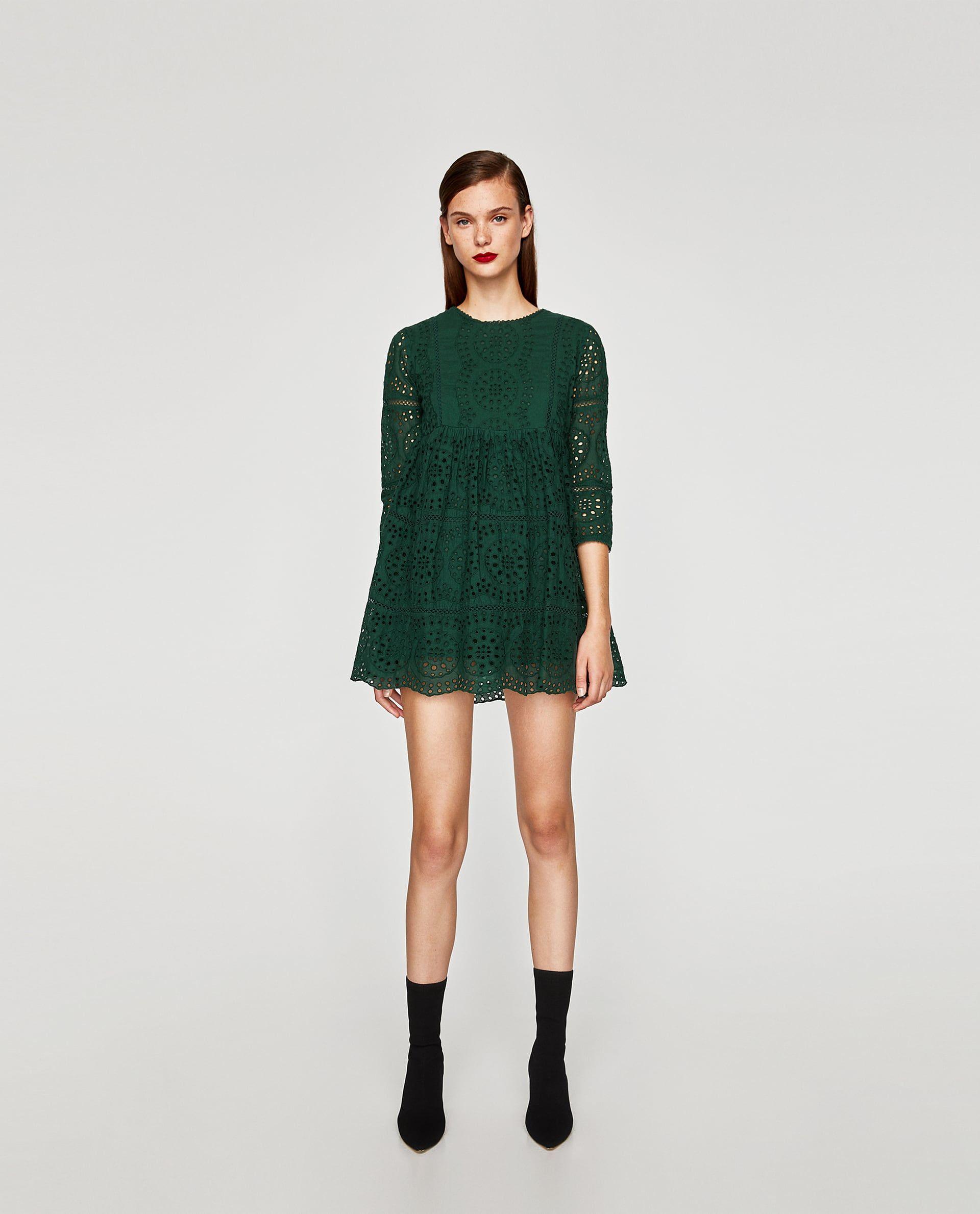 7e3080cc VESTIDO CORTO SCHIFFLY in 2019 | Fashion - Zara SS/FW15 | Green lace ...