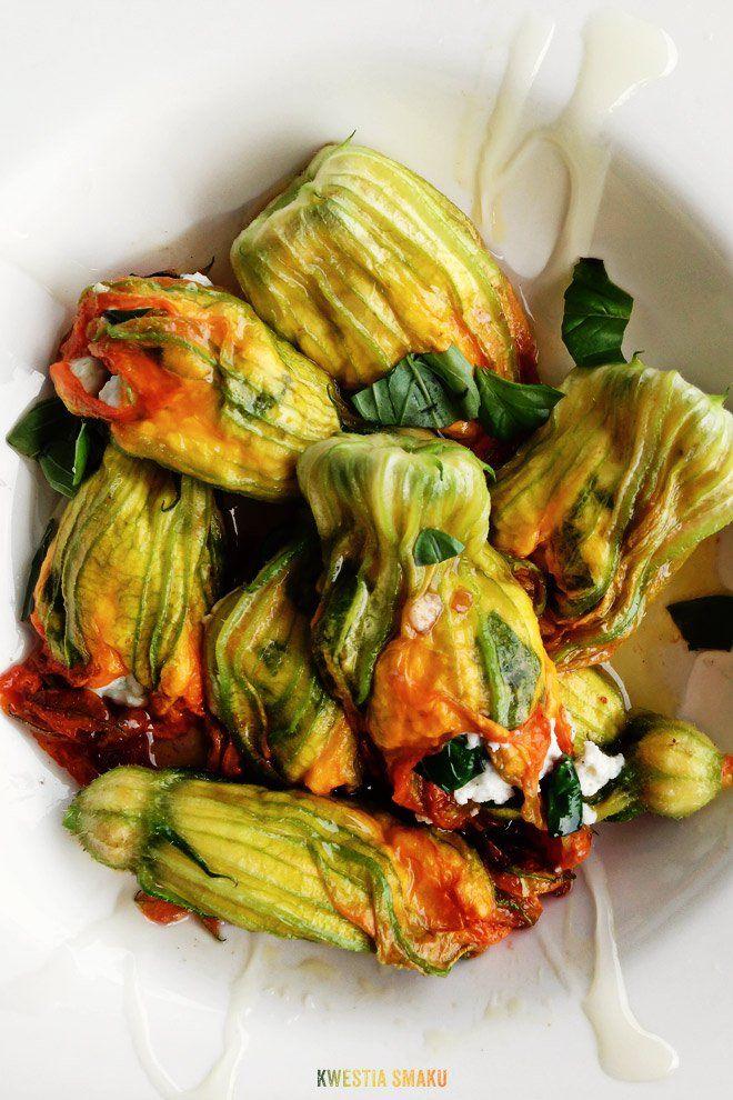 Kwiaty Cukinii Faszerowane Ricotta Przepis Summer Vegetable Recipes Vegetarian Dishes Vegetarian Recipes
