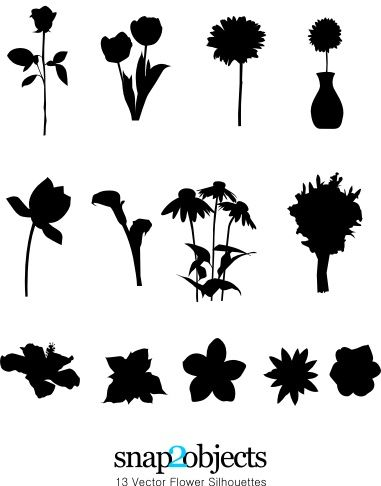 13 Vector Flower Silhouettes Snap2objects Flower Silhouette Vector Flowers Silhouette Painting