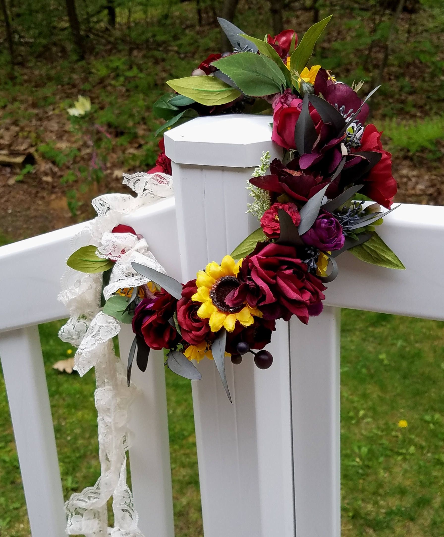 Fall Wedding Hairstyles With Flower Crown: Custom Bridal Floral Crown Sunflowers Greenery Foliage