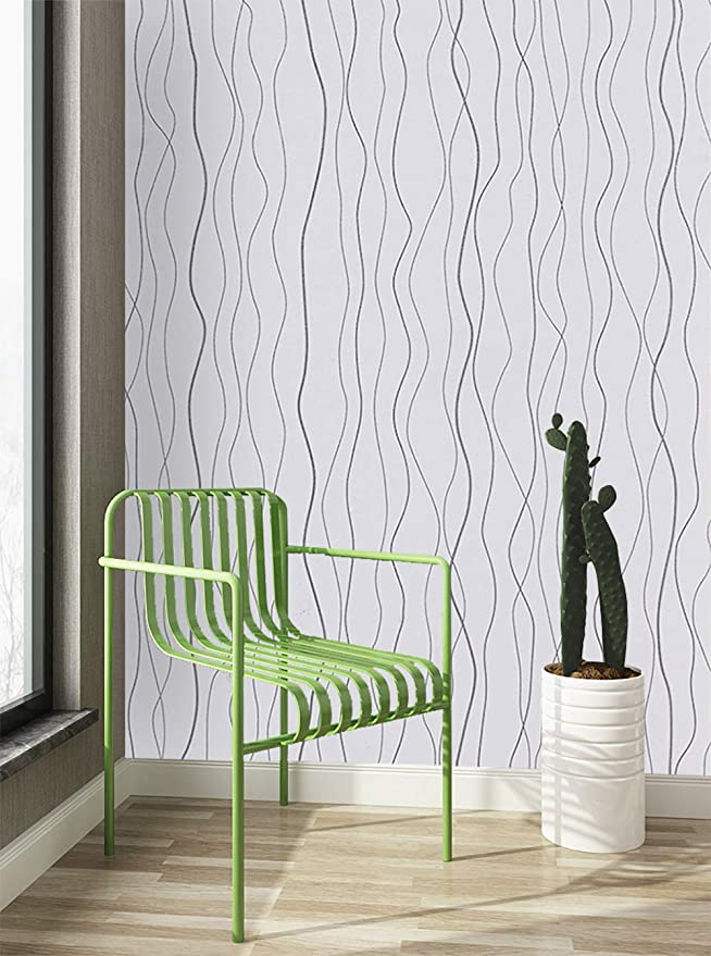 197 X17 7 White Peel And Stick Wallpaper Silver Modern Embossed Stripe Contact Paper Self Adhesive Waves Wallpaper Peel And Stick Wallpaper Stripped Wallpaper