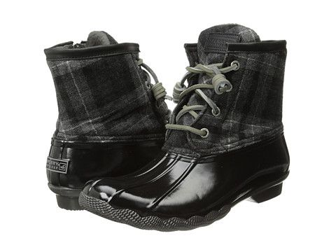 Sperry Womens Black Grey Boots Saltwater Plaid