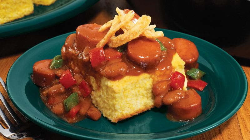 Bbq franks with beans and corn bread eckrich recipe
