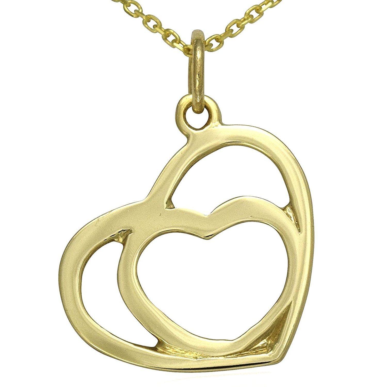 Solid 9ct Yellow Gold Two Hearts Necklace Chain Jewellery Set 16