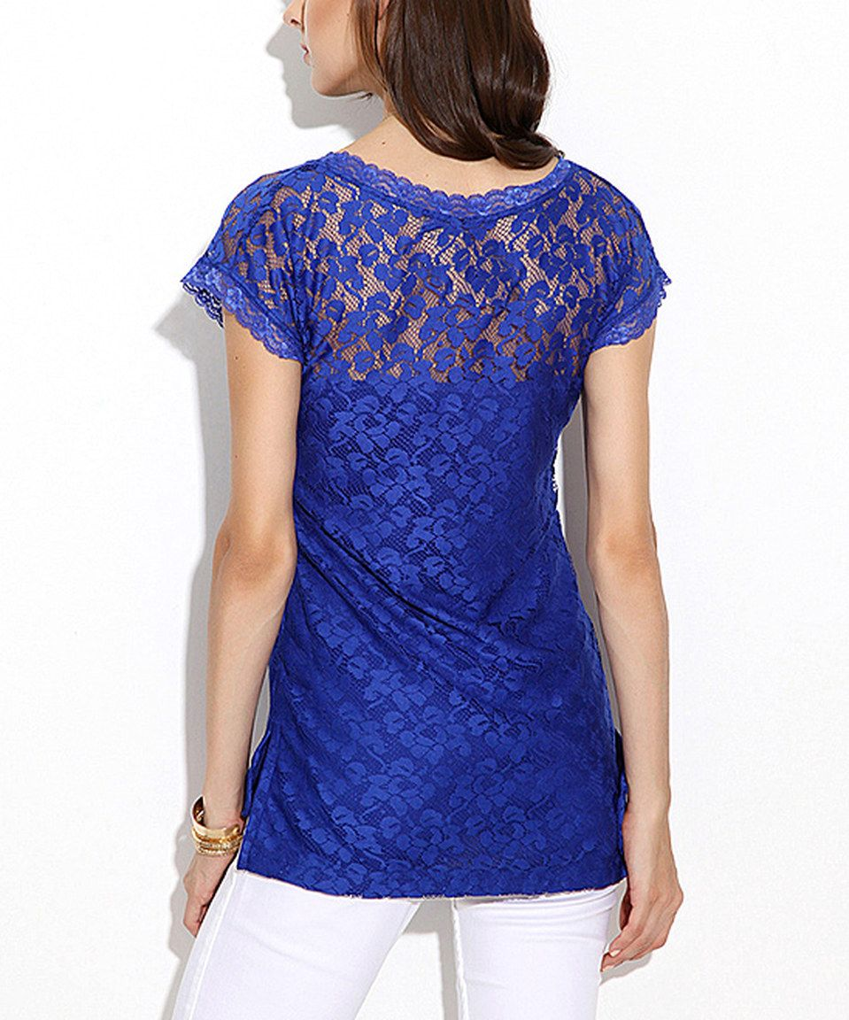 Scarlett Sax Blue Floral Lace Scoop Neck Top Everyday Dresses Tops Floral Lace
