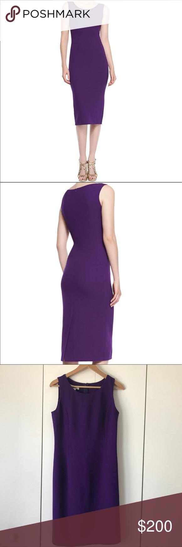 Oscar de la Renta Sleeveless Wool Sheath Dress | Púrpura, Vestidos ...