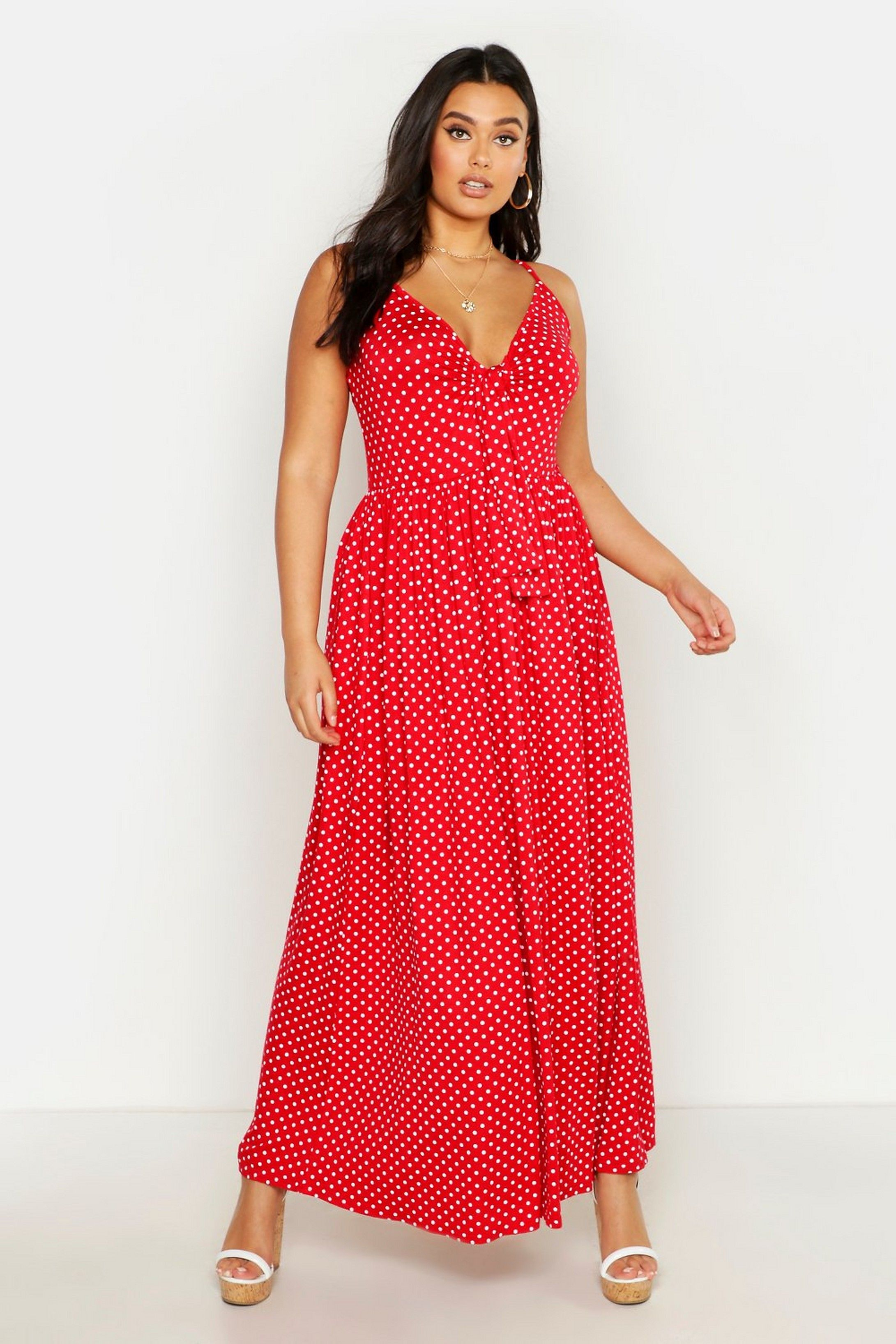 Plus Polka Dot Strappy Knot Front Maxi Dress Boohoo Maxi Dress Plus Size Maxi Dresses Maxi Dress Designs [ 3272 x 2181 Pixel ]