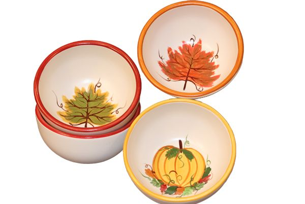 Handpainted autumn bowls by HF Coors. 100% American made. Lead-free ...