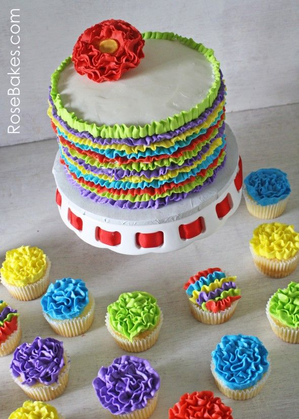 Fiesta Ruffles Cake And Ruffles Cupcakes Fiesta Theme Party